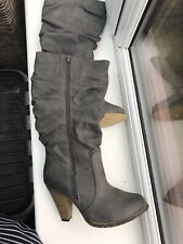 Lovely Ladies Grey Knee Length Boots Size 5