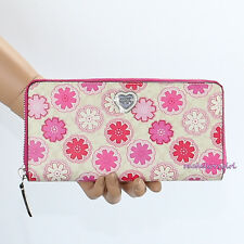 NWT Coach Signature Floral Print Accordion Zip Around Wallet F50672 Pink Flowers