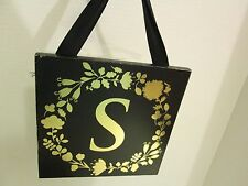 "Initial ""S"" Black and Gold Wood Plaque, NEW"