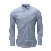 Tommy Hilfiger Herren Hemd, Langarm, blau, geometrisch gemustert, Slim Fit
