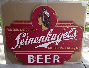 Leinenkugel's Beer Large Tin Tacker Embossed Metal Sign Indian Maiden Logo NEW