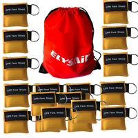 100 Yellow CPR Mask with Keychain Face Shield  AED Disposable First Aid Training