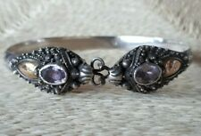 Gold & Amethyst Dragon Cuff Bracelet Vintage Chinese 925 Sterling Silver 14ct