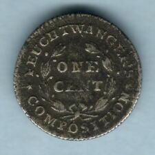 U.S.A.  Feuchtwanger - 1837 1 Cent..  Hard Times Token..  aVF