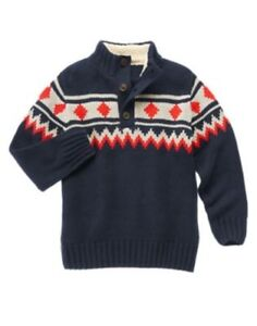 GYMBOREE KING OF COOL NAVY STRIPED 1/2 BUTTON SWEATER 4 5 6 7 8 NWT