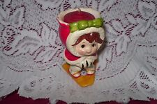 """Vintage Lefton Christmas Girl Skiing Candle Holder Number #7048 """"Must See"""""""