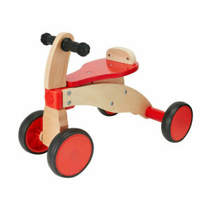 Ride On Bike For Toddlers Four Wheeled Wooden Push Balance Bike Rubber Wheels T1