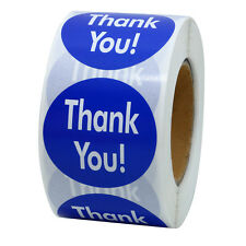 """Thank you! Blue Stickers 1.5"""" Round Self Adhesive Labels 500 Total Per Roll"""