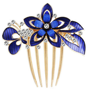 Wedding Hair Accessories Comb Royal Blue Butterfly and Flower Shiny Bridal HA321
