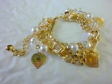 Armband Charms Bettelarmband Herz Perlen Kette Schmuck Armkette Gold  #125