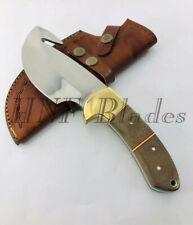 HNF CUSTOM HANDMADE D2 STEEL GUT HOOK SKINNER KNIFE | MICARTA HANDLE GS 1