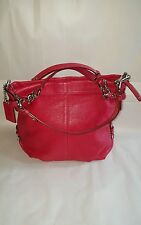 COACH Brooke Red Pebbled Leather Hobo Satchel SHOULDER HANDBAG Purse 14142 EUC