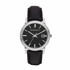Burberry BU9009 The City Black Leather Strap Watch Mens 38mm AUTHENTIC BRAND NEW