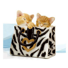 Statue de collection COUNTRY ARTISTS - 2 CHATONS BLANC/ROUX DANS UN SAC A MAIN