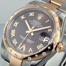 ROLEX 178341 31 mm MID SIZE STEEL ROSE GOLD OYSTER DATEJUST BROWN DIAL
