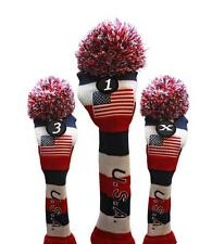 1 3 X USA GOLF Driver Headcover Red White Blue KNIT Head Covers Headcovers