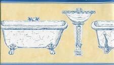 VICTORIAN BATHROOM FIXTURES, TUB, SINK, ETC. BLUE AND YELLOW WALLPAPER BORDER
