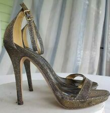 Michael Antonio Womens Platform Heel Sandals Beige Black Ankle Strap Buckle 7