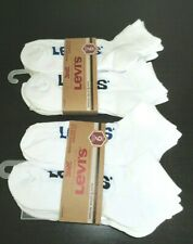 Levi's Mens Quarter Cut Cushion Socks Lot of 12 Size 6-12 White Blue Red Logo NR
