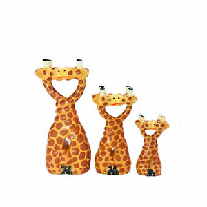 My Family House Kissing Giraffe Statue - Multicoloured Wood - Handmade