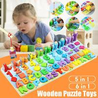 Digital Letter Geometry Shape Wooden Jigsaw Block Puzzle Kids Education Toys UK