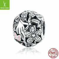 Authentic 925 Sterling Solid Dazzling Daisy Fairy Charm,Pink Enamel Clear CZ DIY