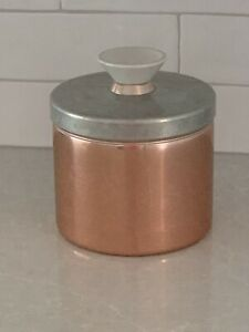 """Vintage MCM Mirro Aluminum """"Grease"""" Canister Copper Color Made In USA"""