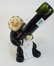 French Butler Waiter figurine Wine Bottle Caddy Holder Rack humorous happy