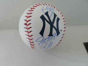 CC Sabathia, Aaron Judge, Giancarlo Stanton Signed Auto Logo Baseball W/ COA