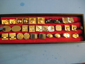 Mens Jewelry Lot Vintage 15pr Cufflinks Gold/Silver Tone Assorted Themes