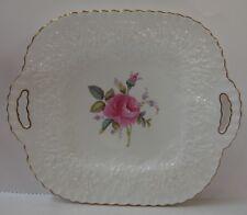 SPode BRIDAL ROSE Y2788 Handled Square Cake Plate GOLD TRIM Billingsley Rose