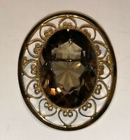 Vintage Gold Filled 12kt CATAMORE Round Brown Smoky Topaz Pin Brooch