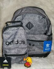 ADIDAS LARGE 3 COMPARTMENT BACKPACK & BOOKBAG STYLE TOTE LUNCHBOX GREY & BLACK