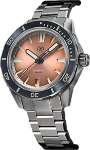 ✅ ZELOS SWORDFISH SALMON 40MM SS DIVER WATCH INTERNATIONAL SHIPPING 🇺🇸 DEALER