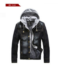 Mens Winter Fur Lined Jean Jacket Denim Thick Coat With Detachable Hoodie New