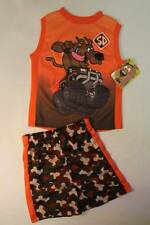 NEW Boys 2 pc Set 12 Month Mesh Tank Top Shirt Camo Shorts Scooby Doo Dog Outfit