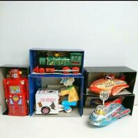 Masudaya Tinplate Tin Toy Set car Rocket locomotive Antique Vintage Retro