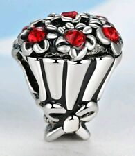 Red Crystal Bouquet Of Flowers Charm Bead For Bracelets Mother's day Charm CH31