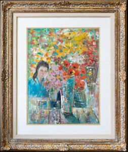 """Le Pho (1907 - 2001) French/American Listed Artist Oil """"Girl And Flowers"""""""