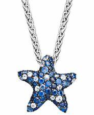 "1Ct Blue Sapphire & White Diamond 14K White Gold FN Starfish Pendant Necklace18"""
