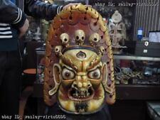 Nepal Folk Buddhism Wood handwork Carve Painted Mahakala Buddha Head mask Statue