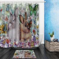 The Easter Bunny Theme Waterproof Fabric Home Decor Shower Curtain Bathroom Mat