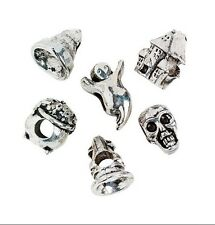 Halloween Beads Ghost, Wizard Hat, Haunted House, Skull - Large Hole, 6 Beads