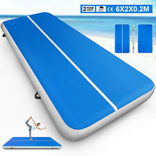 6X20FT Air Track Floor Gymnastics Tumbling Mat Inflatable Yoga Pad Kids Exercise