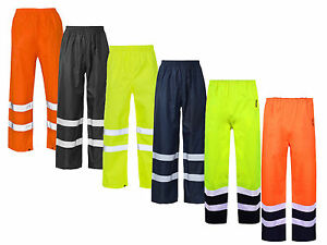 Hi Vis Visibility Viz Over Trousers Reflective Safety Work Wear Waterproof Pant