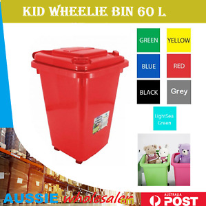 Au  32/ 60L PLASTIC WHEELIE STORAGE BINS KIDS TOY STORAGE BIN