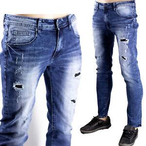 Pantaloni Elastici Slim Fit Uomo Jeans Strappi Gambe Toppe Sfilacciato Blu Denim
