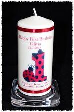 Baby Girl 1st Birthday candle Personalised gift Ladybird  #8