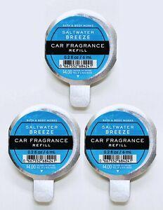 3 Bath & Body Works Scentportable SALTWATER BREEZE Car Air Freshener Refill Disc