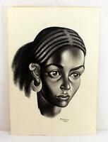 Beautiful Artist Signed Black Woman Drawing ~ Asmeroni 1972 ~ Lot 1